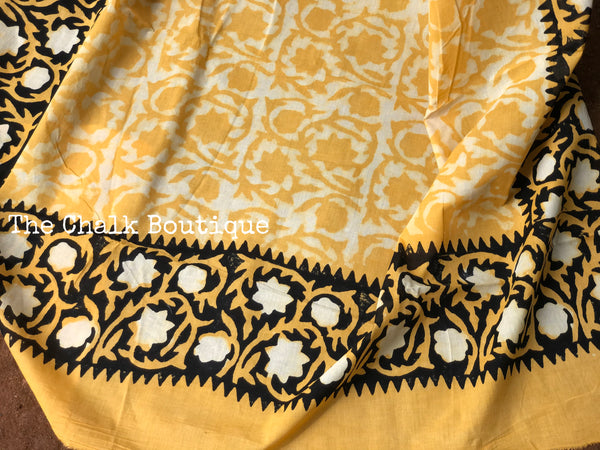 | Genda Phool | Mustard  hand block mul mul cotton saree.
