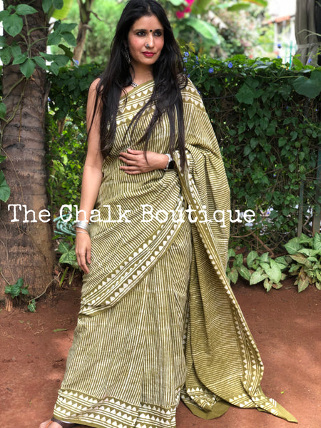 | Heena | Olive Green Striped Hand Block Printed mul mul cotton saree.