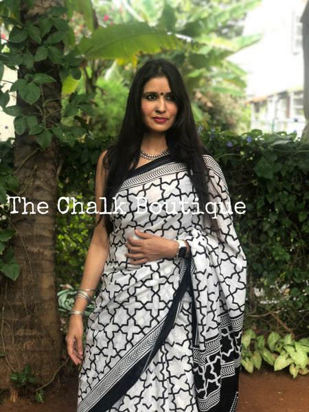 | MoonFlower |  White and Black Jaal Printed mul mul cotton saree.