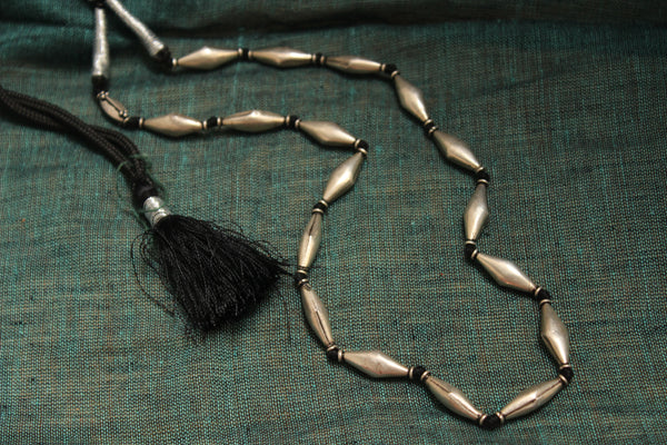 Antique Silver Dholki Beads Adjustable Dori Neckpiece. VA-M13-OC
