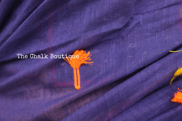 Blue with rust cotton Saree with pom poms on the body and pallu. TCB-MS1-CY1