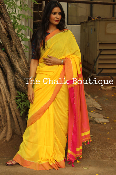 Yellow cotton Saree with contrast red border with thin zari. TCB-CT1-CY1