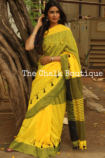 Yellow cotton Saree with thread tassels on border and pallu. TCB-POM1-CY1-The Chalk Boutique