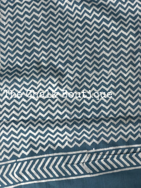 | Shimmer Love | Steel Blue Hand Block Printed mul cotton saree