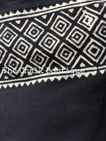 | Mor | Dark Grey  Hand Block Printed mul cotton saree