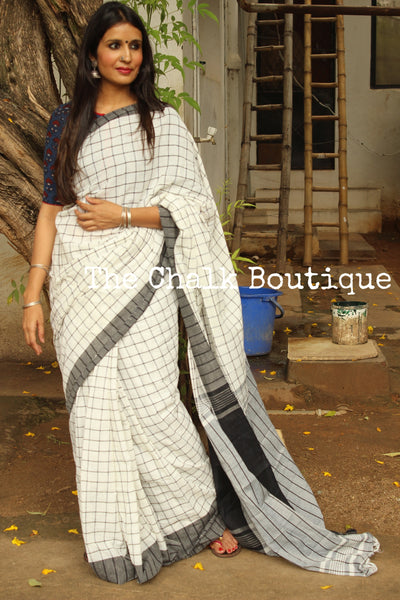 White and Black Checked cotton Saree with tasseled palla. TCB-CHK2-CY1