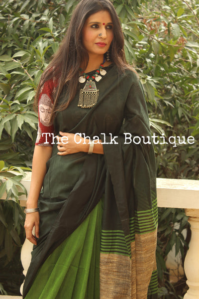 | Olive Twist | Green pure cotton Saree with Gicha palla. TCB-GIC2-CY3-The Chalk Boutique