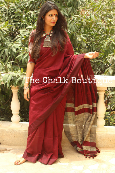| Sangria | Maroon pure cotton Saree with Gicha palla. TCB-GIC3-CY3