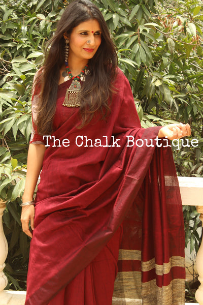 | Sangria | Maroon pure cotton Saree with Gicha palla. TCB-GIC3-CY6-The Chalk Boutique