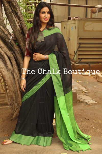 Black with contrast green border pure cotton saree with pom pom palla. TCB-CT5-CY1