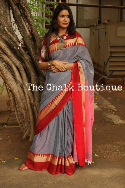Grey with contrast temple border pure cotton saree with pom pom palla. TCB-TEM6-CY1