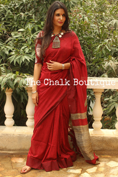 Red pure cotton Saree with Gicha palla. TCB-GIC5-CY3