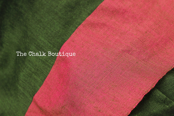 | Green Grapes | - Pure cotton Saree with contrast pink border and pom pom pallu. TCB-CT4-CY3-The Chalk Boutique
