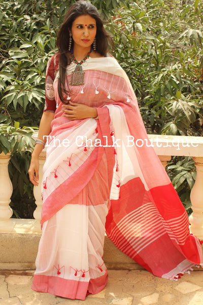 White cotton Saree with thread tassels on border and pallu. TCB-POM4-CY1-The Chalk Boutique