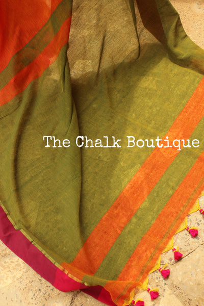 | Marmalade | - Orange cotton Saree with contrast pink border with thin zari. TCB-CT3-CY6-The Chalk Boutique