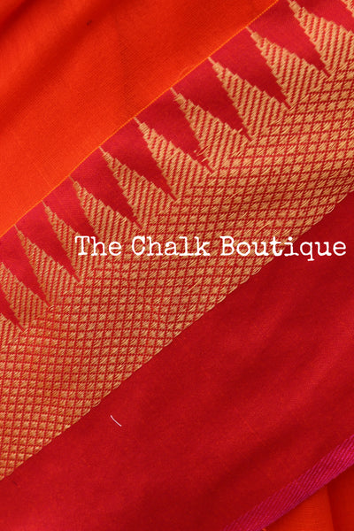Orange with contrast temple border pure cotton saree with pom pom palla. TCB-TEM3-CY2-The Chalk Boutique