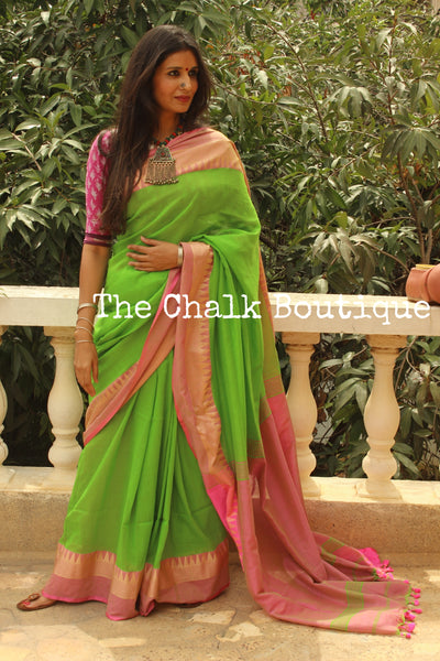 Green with contrast temple border pure cotton saree with pom pom palla. TCB-TEM4-CY1
