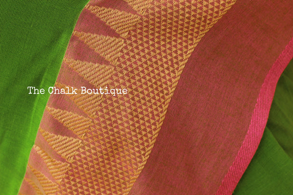 | Tota | Parrot Green with contrast temple border pure cotton saree with pom pom palla. TCB-TEM2-CY4-The Chalk Boutique