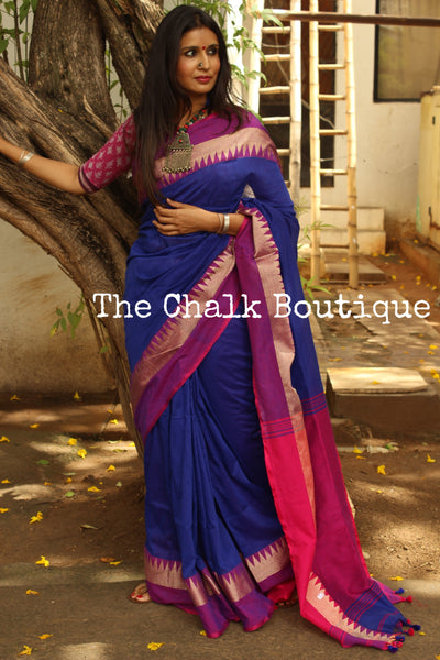 Blue with contrast temple border pure cotton saree with pom pom palla. TCB-TEM2-CY2