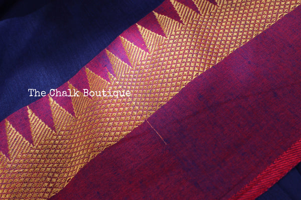 Blue with contrast temple border pure cotton saree with pom pom palla. TCB-TEM2-CY1-The Chalk Boutique