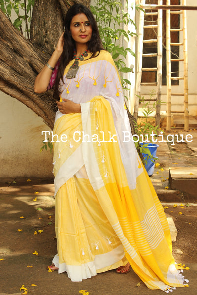 Yellow and White cotton Saree with thread tassels on border and pallu. TCB-POM5-CY1