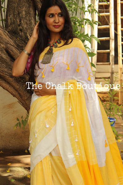 | Lemons and Ice | Yellow and White cotton Saree with thread tassels on border and pallu. TCB-POM5-CY1-The Chalk Boutique