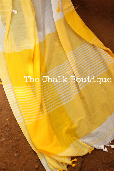 | Lemons and Ice | Yellow and White cotton Saree with thread tassels on border and pallu. TCB-POM5-CY1