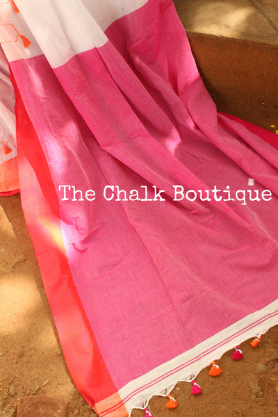 | Parijat Farm | - White cotton Saree with thread tassels on border and pallu. TCB-POM3-CY1-The Chalk Boutique