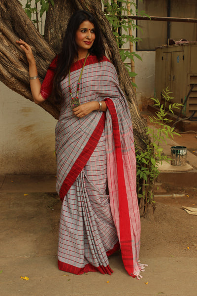 | Fancy Feet | Grey and Red Checked cotton Saree with tasseled palla. TCB-CHK4-CY1
