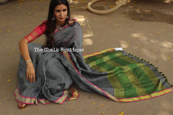 Grey Handwoven Linen Saree With Pom Poms On The  Palla. TCB-LL1-P7