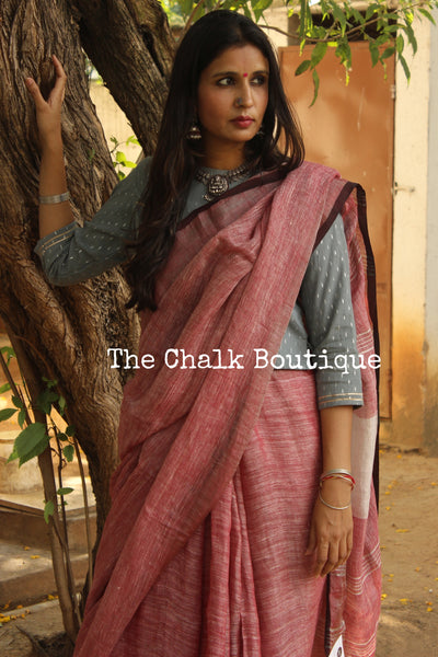 Handwoven Linen Saree With Pom Poms On The  Palla. TCB-LL2-P7