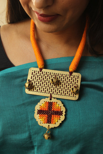 Cross Stitch pendant dori necklace. ERR-OCT32
