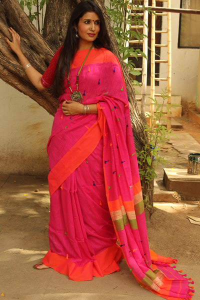Pink with Orange cotton Saree with pom poms on the body and pallu. TCB-MS3-CY1