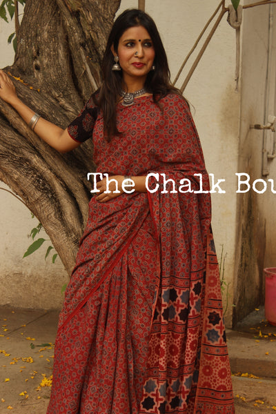 Handwoven vegetable dyed Ajrakh mul cotton saree . KCH-AJR1-C6