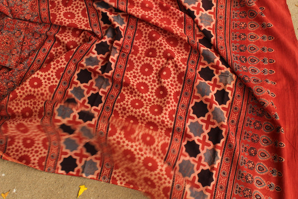 Handwoven vegetable dyed Ajrakh mul cotton saree . KCH-AJR3-C6