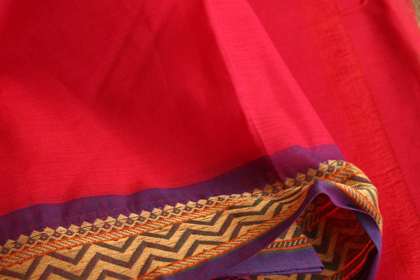 Tomato Red Cotton Saree with contrast Woven Border. TCB-KC35-KN
