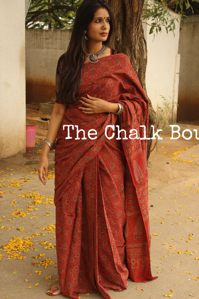 Handwoven vegetable dyed Ajrakh mul cotton saree . KCH-AJR7-C6