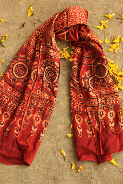 Modal silk vegetable dyed Ajrakh stole. KCH-STO1-C5