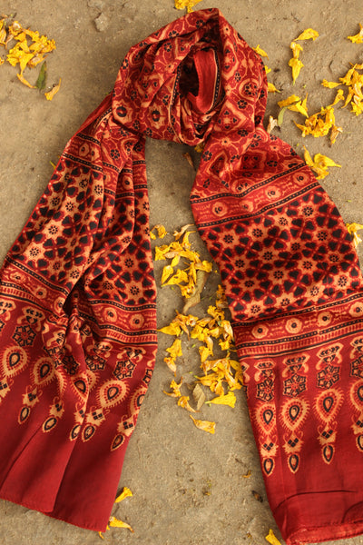 Modal silk vegetable dyed Ajrakh stole. KCH-STO3-C5