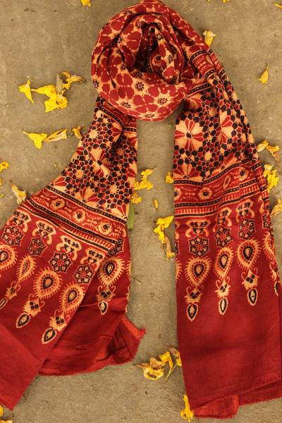 Modal silk vegetable dyed Ajrakh stole. KCH-STO6-C5