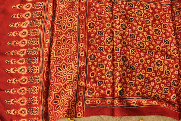 Modal silk vegetable dyed Ajrakh stole. KCH-STO8-C5