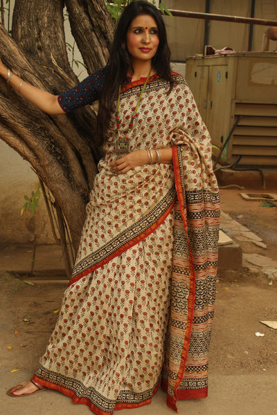 Beige Hand block Printed Dabu Saree in Chanderi Silk SHB-CHN22-C3