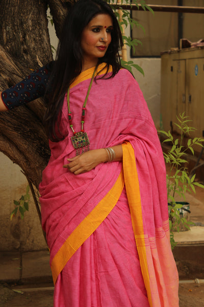 | Rainbow Tail | Pink self woven handloom cotton saree with contrast paar and contrast pallu. TCB-COT2-CY-The Chalk Boutique