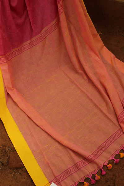 | Rainbow Tail | Pink self woven handloom cotton saree with contrast paar and contrast pallu. TCB-COT2-CY
