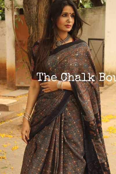 Modal silk vegetable dyed Ajrakh saree. KCH-MOD3-C6