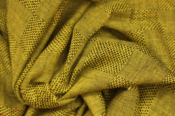 | Magic Wings | Green self woven handloom cotton saree with contrast paar and contrast pallu. TCB-COT3-CY-The Chalk Boutique