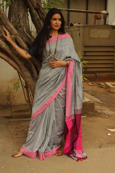 | Silver Moon | Grey with contrast pink border pure cotton saree with pom pom palla. TCB-CT6-CY1