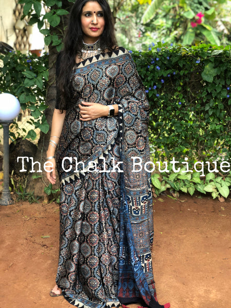 Indigo and Black Modal silk vegetable dyed Ajrakh saree.