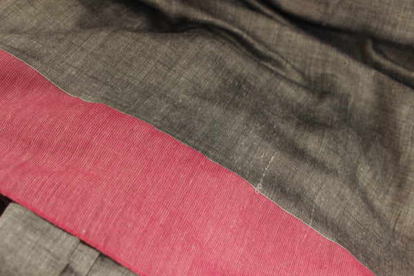| Silver Moon | Grey with contrast pink border pure cotton saree with pom pom palla. TCB-CT6-CY3-The Chalk Boutique