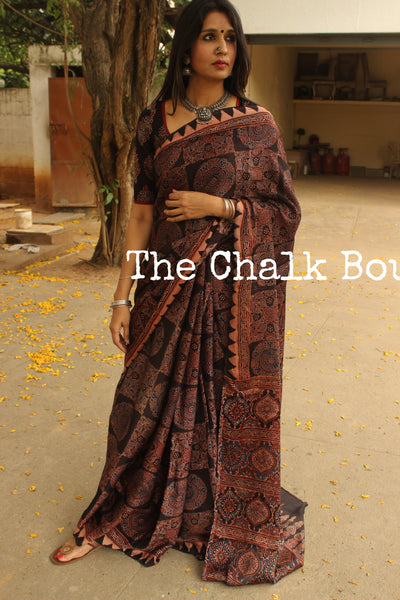 Modal silk vegetable dyed Ajrakh saree. KCH-MOD10-C6